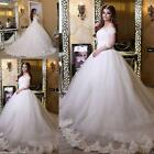 Custom size new White/Ivory Chapel train wedding dress bridal gown free shipping