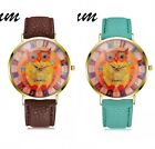New Fashion Women Geneva Owl Watch Lady Leather Band Analog Quartz Wrist Watch