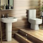 Bliss 4 Piece Bathroom Modern Suite Toilet WC Basin, Pedestal, Seat