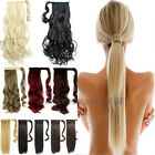 UK Mega Thick Clip In Ponytail Hair Extensions Straight Curly Wrap Pony Tail hf9