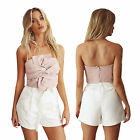 Sexy Women Strapless Suede Crop Tube Tops Party Cocktail Bow Knotted Clubwear