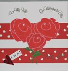 Lovely Personalised Handmade Valentine Rose Heart design Card, Wife Husband etc