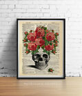 SKULL VINTAGE ANATOMY PINK ROSES GOTHIC DICTIONARY ART PRINT POSTER GICLEE