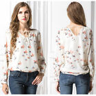 Women Summer Long Sleeve V-neck Lace Up Chifffon Print Loose Blouse Tops Shirts