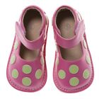 Discontinued Toddler Girl's Leather Squeaky Shoes Hot Pink with Lime Green Dots