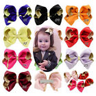 3.5 Inch Baby Kids Girls Glitter Hair Bow Clips Boutique Grosgrain Ribbon