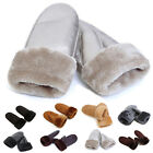 Winter Women Lady Faux Sheepskin Fur Mitten Hand Leather Wrist Cape Gloves USA