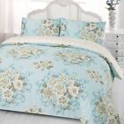 Duvet Cover with Pillowcase Bedding Set Reversible Flora Roses Bed Duck Egg Blue