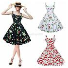 Vintage Style Women's 1950's Floral Rockabilly Pin Up Evening Party Swing Dress