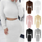 New Two Pieces Set Women's Fashion Bandage Bodycon Sweater Crop Top +Short Dress