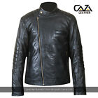 MENS REAL BLACK GENUINE SOFT LEATHER JACKET BIKER MOTORCYCLE SLIM FIT -ALL SIZES