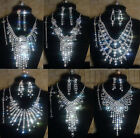 Valentine's Day Gift Silver Rhinestone Crystal Necklace Earrings Bracelet Ring