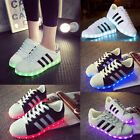 LED Light Lace Up Sneakers Sportswear Striped Luminous Casual Shoes