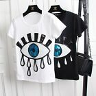 Fashion Womens Casual Cotton Eyes Sequins Round Neck Short Sleeve Blouse T-Shirt