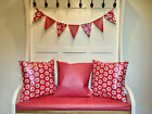 WATERPROOF OUTDOOR PVC COATED GARDEN BENCH SEAT/ SCATTER CUSHIONS/ BUNTING RED