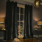 Iliana Curtains by Kylie Minogue, Black Velvet curtains, 66 & 90 inch wide, 5...