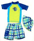 NEW UV Skinz UPF 50+ 3Pc Boy's Swim Set Swim Shirt, Short, & Hat, Octopus Frenzy