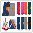 Mercury Denim Canvas PU Leather Wallet Flip Card Case for  iphone 5 / 5S - Blue