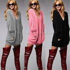 Women Lady Loose Long Sleeve Casual Pullover Blouse Tee Shirt Tops Mini Dress