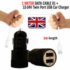 2 IN 1 LED USB CAR CHARGER & FAST CHARGING CABLE LEAD FOR ASUS ZENFONE HANDSETS