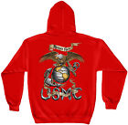 Erazor Bits Hooded Sweatshirt Sweater Hoodie Eagle USMC Marine Corps Red