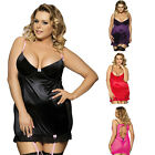Plus Size M-6XL Women Ruffles Babydoll Chemise and Hipster G-string Lingerie Set