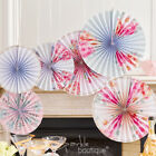 6 x FLORAL PINWHEEL / HANGING FAN DECORATIONS -Vintage/Shabby Chic Wedding/Party