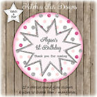 PINK SILVER  DK PINK DOTS PARTY PERSONALISED ROUND CIRCLE GLOSS STICKERS X12