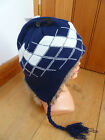 ATTAKID NAVY BLUE FAUX FUR LINED PERUVIAN BEANIE KNITTED HAT ONE SIZE NEW