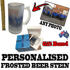 PERSONALISED CUSTOM GLASS BEER STEIN - GIFT BOXED - birthday present for him her