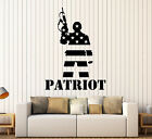 Vinyl Wall Decal Patriot American Soldier Flag Warrior St...