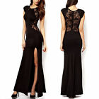 Women's Elegant Slim Long Maxi Lace Ball Gown Evening Cocktail Party Dress