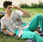 2017 New Summer Fashion Cotton 2PCs Men's Short Sleeves Pajama Sets L/XL/2XL/3XL