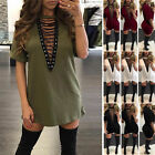New Women Choker V Neck Casual Loose Tops T-Shirt Lace-up Plunge Mini Dress S-XL