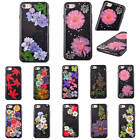 Black True Flower Floral Leaf Case TPU Silicone Rubber Cover For iPhone 6 7 Plus