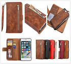 Removable slim card holder wallet zipper Leather case cover with strap for phone