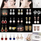 Luxury Women Gold Silver Rose Gold Plated Crystal Pearl Stud Earrings Jewelry