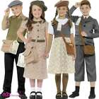Child WW2 Evacuee Boy Girl 40's  School Book Day Fancy Dress Costume Outfit