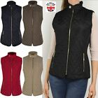 Womens Ladies Gilet Quilted Bodywarmer Waistcoat Zip Sleeveless Jacket Size UK