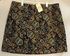 NEW Canyon River Blues Blue Gold Corduroy Paisley Faux Wrap Print Skirt L XL