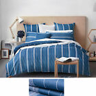 Sheridan Indigo Bramwell Stripe Reversable Quilt Cover Set --King/Queen