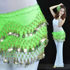 Gold Ladies Wear Row Rows 3 Hip Wrap Fashion Chiffon Dance Belly Scarf Belt