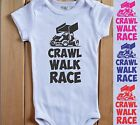 Crawl Walk Race Baby Bodysuit White Shirt Sprint Car Dirt Track Racer Micro Boy