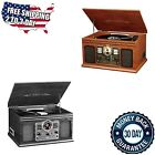 NEW Vintage Record Player With Speakers Vinyl Turntable Radio Cassette Cd Player