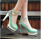 new Rhinestone buckle womens high heels sexy faux patent leather round toe shoes