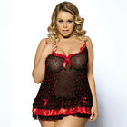 Plus Size M-6XL red Lingerie Nightwear Underwear Babydoll Sleepwear Lace Dress