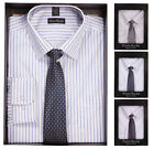 Mens Pierre Roche Gift Boxed Long Sleeve Shirt & Tie Set Smart Office Shirt Gift
