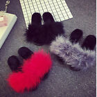 New Women's Fur Fluffy Slippers Sandals Slides Mules Feather Open Toe Home Shoes