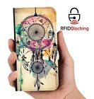 RFID Protected Dreamcatcher Retro PU Leather Phone Wallet Case Cover for Galaxy