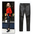 Black Faux leather ziper trim ribbed knee cropped biker pants